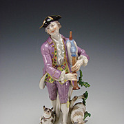 "10"" Antique Man Playing Flute with Sheep/Dog Meissen Porcelain Figurine Grouping"