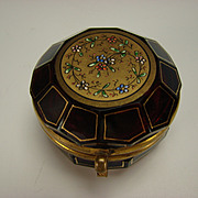 Antique Moser Enamel and Gilt Ruby Glass Patch Stamp Trinket Box