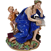 Antique Meissen Porcelain Figurine Grouping Cherub Lady Reading Book
