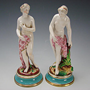Antique English Porcelain Nude Lady Figurines Statues c1850