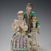 Antique Meissen Porcelain Figurine Couple Reading Group