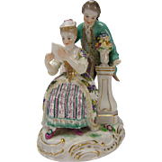 Antique Meissen Porcelain Figurine Couple Reading Group