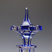 Antique Imperial Russian Gothic Blue cut to Clear Lobed Glass Decanter c1840