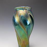 Art Nouveau Iridescent Swirled Glass Rindskopf Vase