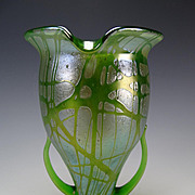 Art Nouveau Loetz Pampas Tall Handled Glass Vase c1900