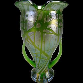 Art Nouveau Loetz Pampas Tall Handled Glass Vase c1900