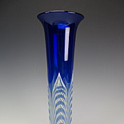 Great Durand Cobalt Pulled Feather Peacock Star Art Glass Vase c1925