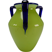 Art Deco Loetz Powolny Cobalt and Vaseline/Lime Green Glass 3 Handled Vase