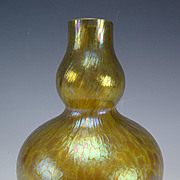 Antique Loetz Iridescent Double Gourd Glass Vase c1910