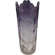 Antique Moser Figural Intaglio Cut Amethyst Glass Vase Signed Karlsbad c1900