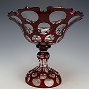 Fantastic Antique Bohemian Optic Van Dyke Rim Cut Ruby Glass Compote Stand