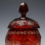 Antique Boston & Sandwich Ruby Glass Lidded Jar c1850 Scarce!