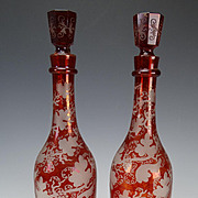 c1850 Boston and Sandwich Engraved Grape and Vine Ruby Glass Bottles Decanters