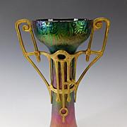 """Antique Secessionist Loetz Rindskopf Iridescent Metal Mounted Glass Vase 12"""" c1905"""