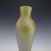 Antique Bohemian Swirled Iridescent Kralik Rindskopf Glass Vase