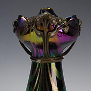 Art Nouveau Rindskopf Amethyst Loop Jugendstil Bronze Mounted Glass Vase Authentic!
