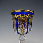 Antique Baccarat Empire Pattern Blue cut to Clear Gilt Cordial Stem