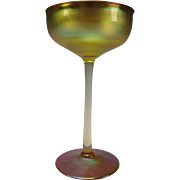 Antique Signed LCT Tiffany Aurene Iridescent Glass Wine Stem Art Nouveau