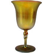 Antique Steuben Aurene Iridescent Rope Twist Stem Wine Glass