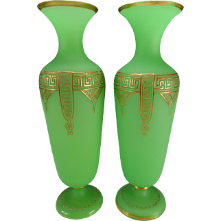 """Antique Bohemian Green Opaline and Raised Gilt 16"""" Pair of Glass Vases c1870"""