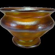Antique LCT Tiffany Pedestal Favrile Aurene Glass Salt Dip Bowl