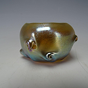 Antique LCT Tiffany Blue Favrile Twisted Prunts Iridescent Glass Salt Dip