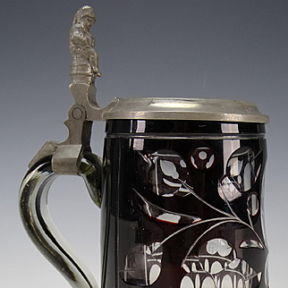 Antique Bohemian Cased Dark Cranberry Cut to Clear Figural Gnome Pewter Lidded Glass Stein