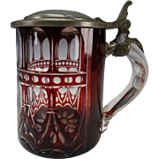 Antique Bohemian Egermann Cased Cranberry Overlay Gothic Cut Panel Glass Pewter Lidded Beer Stein