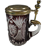 Antique Bohemian Engraved Cranberry Cut to Clear Pewter Lidded Glass Beer Stein Mug