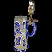 Antique Harrach Bohemian Glass Quadruple Cased Tall Beer Mug Stein c1840