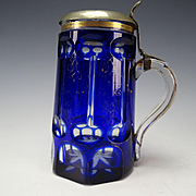 Antique Bohemian Cobalt Blue Cut to Clear 19c Glass Beer Mug Stein