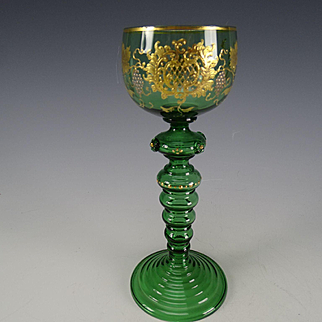 Antique Bohemian Moser Platinum Gilt Hand Painted Enamel Wine Glass