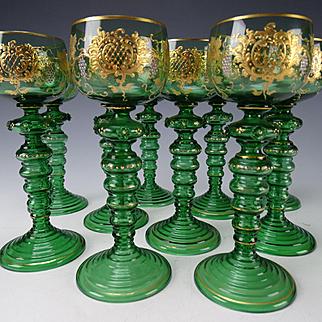 Antique Bohemian Moser Platinum Gilt Grapes and Vine Roemer SET of 10