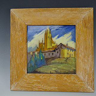 Antique Spanish Daniel Zuloaga Framed Hand Painted Pottery Tile Arts Crafts