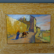 Spanish Arts Crafts Daniel Zuloaga Hand Painted Framed Tile Plaque
