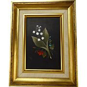 Great Vintage Micromosaic Pietra Dura Inlaid Stone Plaque Gilt Framed Picture