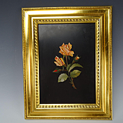 Great Italian Pietra Dura Rose Mosaic Gilt Framed Inlaid Stone Plaque