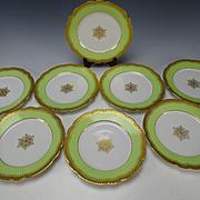 Antique 19c Limoges Raised Gold Border Lime Green Set of 6 Porcelain Plates