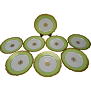 Antique 19c Limoges Raised Gold Border Lime Green Set of 6 Porcelain Plates