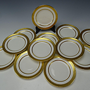 Antique Lenox China Porcelain Raised Gold Trim Border Trim Bread Plates Set of 12 Pre 1930