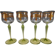 Antique Theresienthal Bohemian Enamel Wine Glass Stem Set of 4