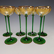 Antique Moser Bohemian Parcel Gilt Green Base Wine Glass Stems