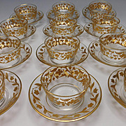 Antique Moser Harrach Parcel Gilt Bowl Liner Plate Set of 12
