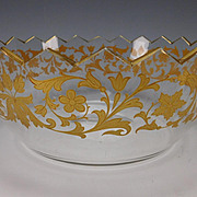 BIG Antique Moser Harrach Parcel Gilt Cut Glass Serving Bowl c1900