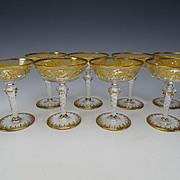 RARE Antique Josephinenhutte Latticino Stem Elegant Gilt Wine Glass SET of 8