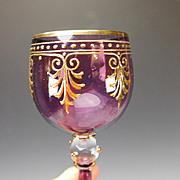 "Antique Amethyst Moser Enamel Gilt 9"" Tall Elegant Wine Glass Stem"