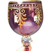 "Antique Amethyst Moser Enamel Gilt 9"" Tall Elegant Wine Glass Stem"