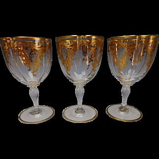 Single Antique Moser Elegant Parcel Gilt Wine Glass Stem