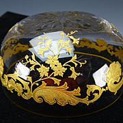 PAIR of Antique St Louis Massenet Cut Embossed Gilt Relief Shell and Foliage Cut Glass Bowls
