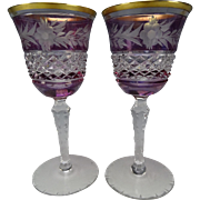 Vintage Czech Bohemian Haida Floral Engraved Amethyst and Gilt Wine Glass Stems Pair